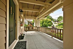 Craftsman Porch with Porch swing, exterior stone floors, Glass panel door