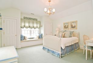 Cottage Kids Bedroom with Dauphine French Country Duck Egg Taupe Fog Linen Queen Bed, Chandelier, Window seat, Carpet