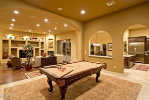 Mediterranean Game Room with Westcott Pool Table, Daltile brixton mushroom 18 in. x 18 in. ceramic floor and wall tile