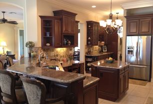 Traditional Kitchen with L-shaped, Flush, flush light, Breakfast bar, Kitchen island, Glass panel, Raised panel, Chandelier