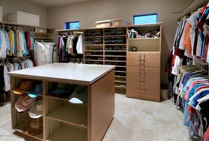 Modern Closet with Concrete tile , specialty window, Standard height