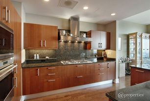 Contemporary Kitchen with Simple Granite, Casement, Simple granite counters, L-shaped, European Cabinets, Kitchen island
