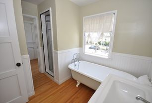Traditional 3/4 Bathroom with Standard height, Laminate floors, 32 sq. ft. Beadboard White V-Groove Panel, Wainscotting