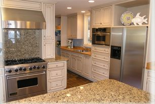 Cottage Kitchen with terracotta tile floors, Ms international amber yellow granite, Undermount sink, Simple granite counters