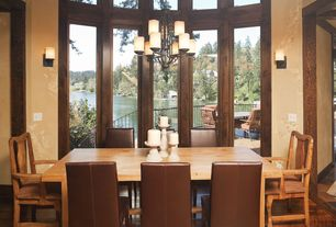 Craftsman Dining Room with High ceiling, Wall sconce, Chandelier, Hardwood floors, picture window, interior wallpaper
