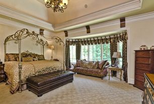 Traditional Master Bedroom with Carpet, Simpli home hamilton rectangular storage ottoman, brown, Chandelier, High ceiling