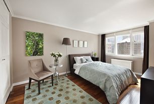 Contemporary Guest Bedroom with picture window, Aspire end table, Hardwood floors, double-hung window, High ceiling, Paint
