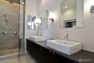 Contemporary 3/4 Bathroom with Vessel sink, European Cabinets, Wood counters, Flush, Duravit vero vessel style bathroom sink