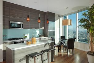 Contemporary Kitchen with European Cabinets, Undermount sink, Breakfast bar, Flush, Simple marble counters, Laminate floors