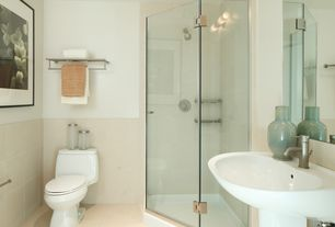 Contemporary Full Bathroom with frameless showerdoor, Wall sconce, Wall mounted sink