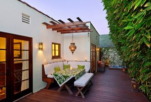 Eclectic Deck with French doors, Casement, Outdoor dining area, Wood framing, Trellis