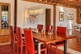 Contemporary Dining Room with flush light, Carpet, six panel door, Pendant light, interior brick, Laminate floors
