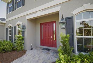 Traditional Front Door with Arched window, Red front door, exterior tile floors, 6-panel front door with sidelights