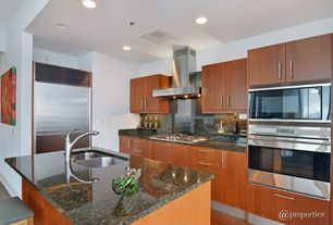 Contemporary Kitchen with European Cabinets, Flush, Simple granite counters, L-shaped, Kitchen island, Breakfast bar