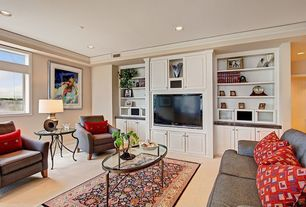 Traditional Living Room with Crown molding, Built-in bookshelf, Carpet