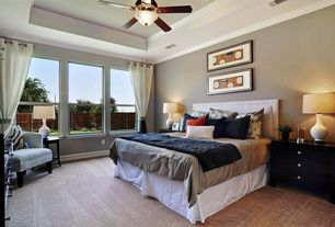 Contemporary Guest Bedroom with Ceiling fan, Crown molding, Carpet, flush light