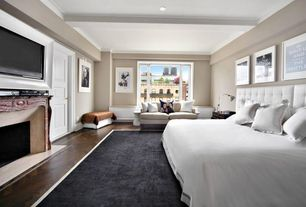 Contemporary Master Bedroom with Louvered door, Carpet, High ceiling, angelo:HOME Madison Square Coal Black/Oatmeal Area Rug