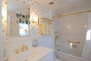 Traditional Full Bathroom with Simple Marble, tiled wall showerbath, Ceiling fan, Undermount sink, Wall sconce