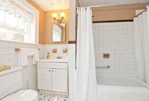 Cottage Full Bathroom with Shower jets, Raised panel, Mirabelle polished chrome st. augustine 2-light bathroom vanity fixture
