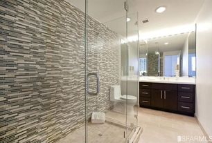 Contemporary 3/4 Bathroom with European Cabinets, Paint, Flush, flat door, Wall Tiles, limestone tile floors, picture window