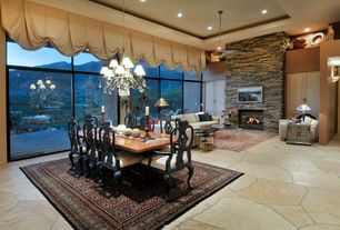 Eclectic Great Room with High ceiling, Pendant light, stone fireplace, slate floors