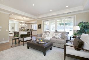 Traditional Living Room with Standard height, specialty window, can lights, Crown molding, Hardwood floors