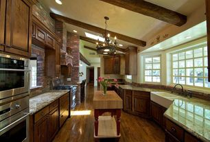 Country Kitchen with Breakfast nook, Chandelier, Double wall oven (stainless steel), Bay window, Exposed beam, Simple Granite