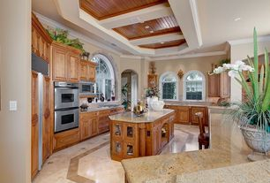 Traditional Kitchen with Built In Panel Ready Refrigerator, Standard height, can lights, Simple granite counters, Stone Tile