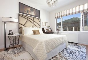 Contemporary Guest Bedroom with Chandelier, Hardwood floors, Bamboo floors, Ceiling fan