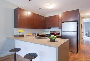 Contemporary Kitchen with Breakfast bar, European Cabinets, Simple marble counters, Undermount sink, Simple Marble, Flush