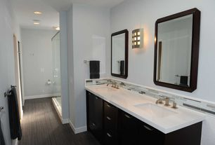 Contemporary 3/4 Bathroom with Pental - Pluvium Porcelain Tile Collection, Corian counters, Undermount sink, Double sink