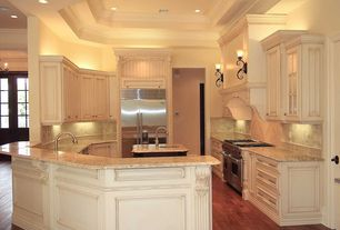 Traditional Kitchen with Stone Tile, Raised panel, Kitchen island, MS International Granite Giallo Ornamental, Custom hood