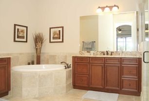 Full Bathroom with flush light, Complex marble counters, Ceiling fan, Raised panel, Concrete tile , High ceiling