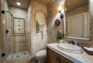 Mediterranean 3/4 Bathroom with frameless showerdoor, stone tile floors, Stone Tile, partial backsplash, Wall sconce, Mural