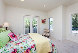 Eclectic Guest Bedroom with Carpet, Crown molding, Glass panel door