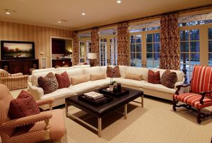 Traditional Living Room with Wildon Home Valley Junction Fabric Arm Chairs, Transom window, can lights, Standard height