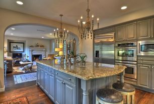 Traditional Kitchen with Kitchen island, One-wall, Breakfast bar, Chandelier, Simple granite counters, Laminate floors