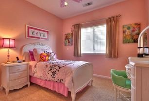 Eclectic Kids Bedroom with Casement, Carpet, Ceiling fan, no bedroom feature, Standard height, can lights