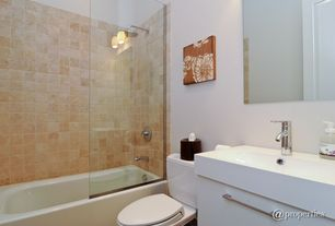 Contemporary Full Bathroom with stone slab showerbath, Rain shower, Wall sconce, European Cabinets, frameless showerdoor