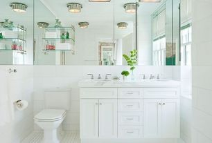 Cottage Full Bathroom with wall-mounted above mirror bathroom light, flush light, Undermount sink, Powder room, Casement