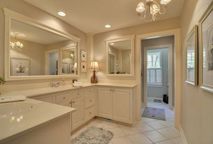 Traditional Master Bathroom with Raised panel, partial backsplash, Drop-in sink, Pendant light, Simple marble counters