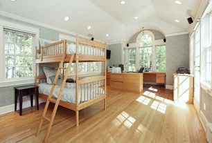 Traditional Guest Bedroom with French doors, Bunk beds, Crown molding, High ceiling, Arched window, can lights, Casement