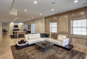 Modern Living Room with Wainscotting, Crown molding, Laminate floors, Carpet