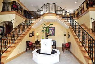 Mediterranean Staircase with Ceiling fan, interior wallpaper, Hardwood floors, Balcony, Double staircase, Pendant light