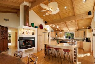 Cottage Kitchen with Simple granite counters, Simple Granite, Flat panel cabinets, L-shaped, Breakfast nook, High ceiling