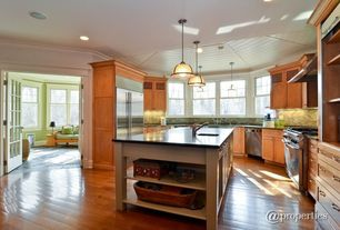 Craftsman Kitchen with L-shaped, Stone Tile, Laminate floors, Flat panel cabinets, Wood plank ceiling (tongue & groove board)