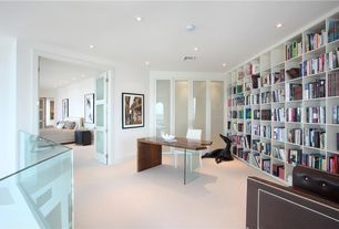 Contemporary Home Office with Carpet, French doors, Built-in bookshelf
