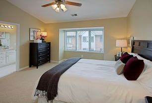 Modern Guest Bedroom with Ceiling fan, flush light, Southampton Casual Retreats Queen Panel Bed, Carpet