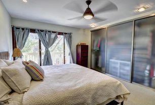 Modern Guest Bedroom with Ceiling fan, flush light, Carpet