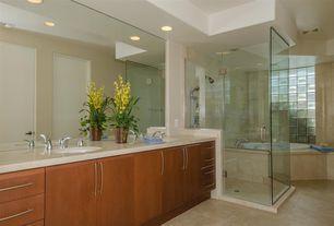 Modern Master Bathroom with can lights, bathroom sink, flat door, wall-mounted above mirror bathroom light, Shower head